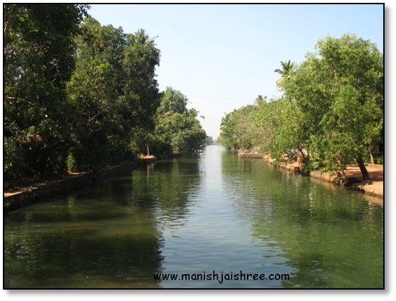 The narrow canals of backwaters