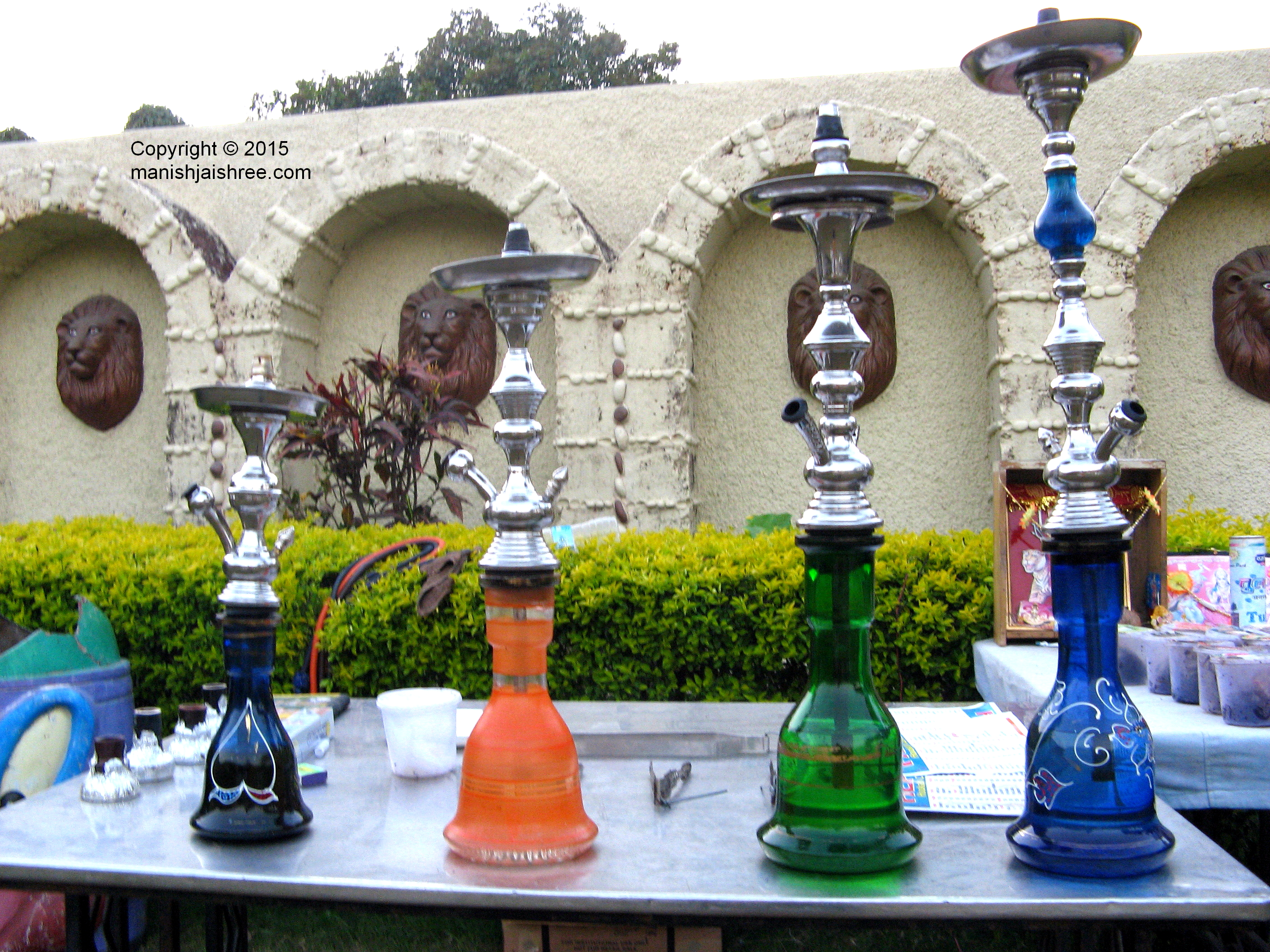 Colorful Hookahs in one of the gardens, Leo Resort, Junagarh