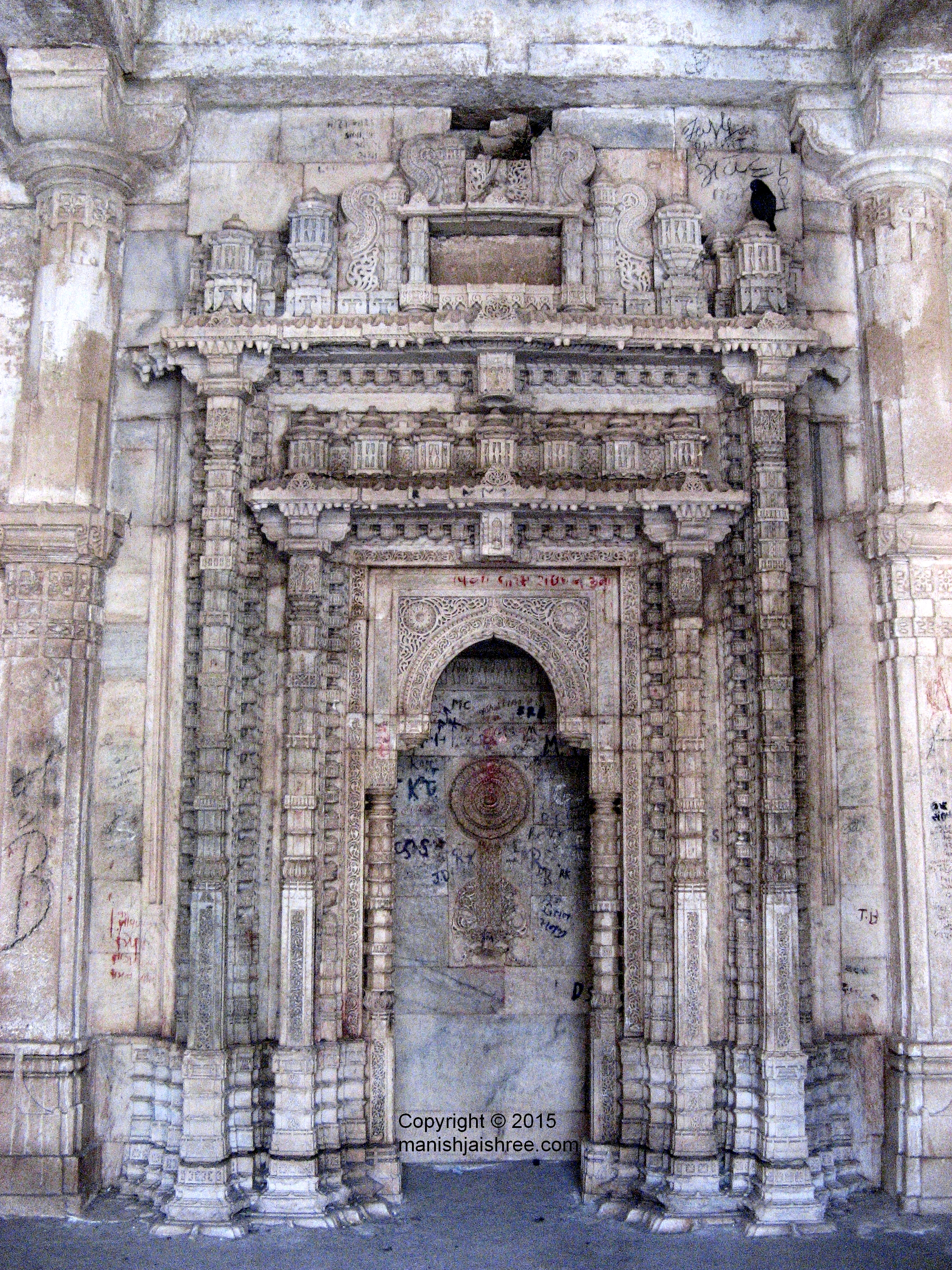 Intricate carving in Rani's Palace, Uparkot Fort, Junagarh